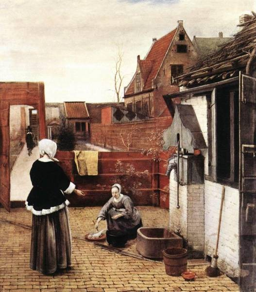 Woman and Maid in a Courtyard